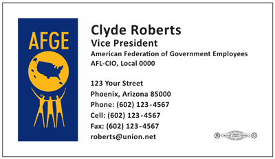 Union printed business cards from union buttons badges more afge template 101 reheart Image collections