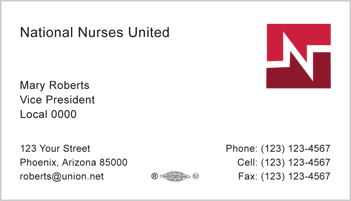 Union printed business cards from union buttons badges more national nurse united business card template 1 colourmoves