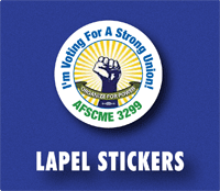 union printed lapel stickers
