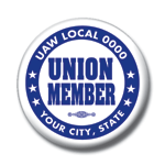 Union member button blue