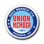 Union member button blue red