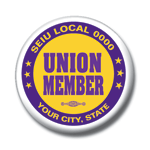 Union member button purple gold