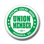 Union member button green