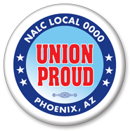 Union Proud button blue