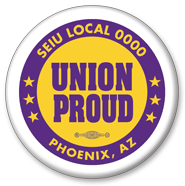 Union Proud button purple
